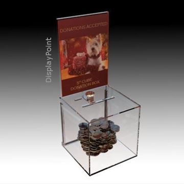 Picture of 5 inch Cube Donation Box with Sign Holder