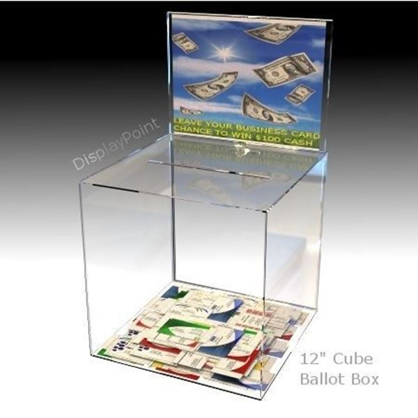 "Picture of Impact Resistant 12"" Ballot Box with Sign Holder"