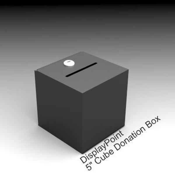 Picture of 5 inch Cube Donation Box- Black