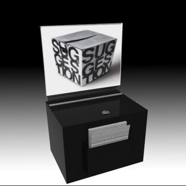 Picture of Countertop Suggestion Box Black With Sign