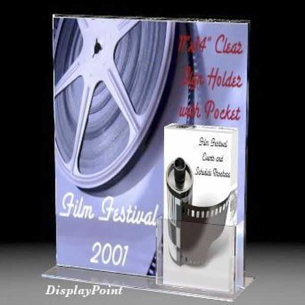 "Picture of 11""W x 14""H T-Style Sign with Trifold Brochure Pocket"