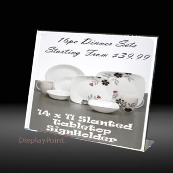 "Picture of 14""W x 11""H Tabletop Slanted SignHolder -L"
