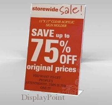 "Picture of 11""W x 17""H Tabletop Slanted Sign Holder - Portrait"