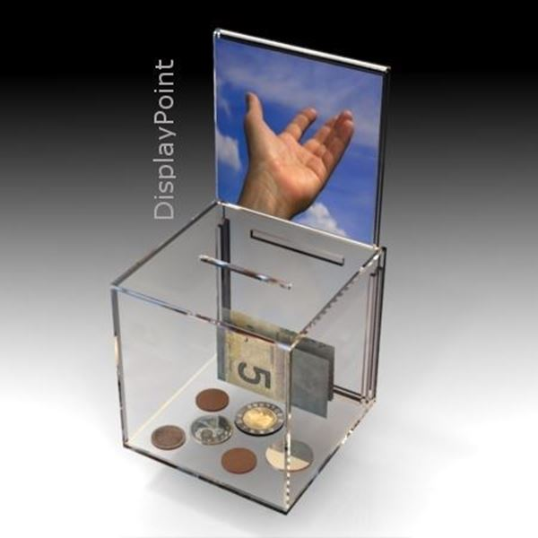 Picture of Compact Collection Box with Sign Holder-No Lock