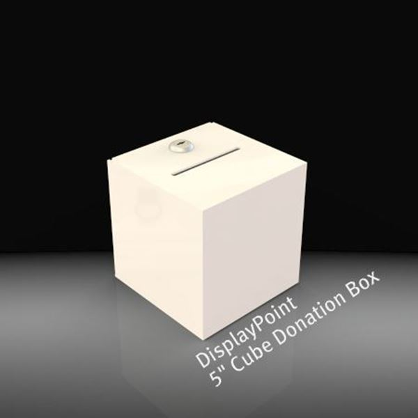 Picture of 5 inch Cube Donation Box White