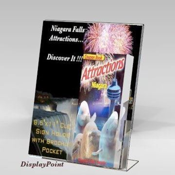 "Picture of 8-1/2""W x 11""H Slanted Sign with Trifold Brochure Pocket"