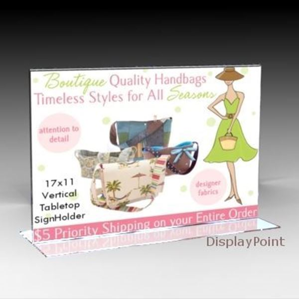"Picture of 17""W x 11""H Tabletop Vertical Sign Holder - Landscape"