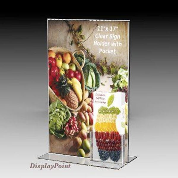 "Picture of 11""W x 17""H T-Style Sign with Trifold Brochure Pocket"