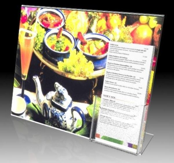 "Picture of 14""W X 11""H Slanted sign with Trifold Brochure Pocket"